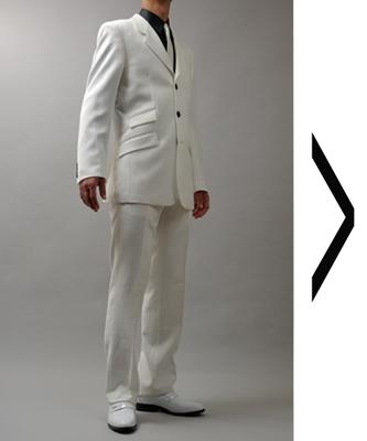 チェンジポケット3ツボタン白スーツ
