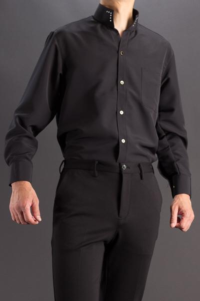 オープンスタンドカラーシャツ スワロフスキー ブラック