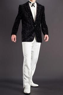 花柄ラメクラッシュベルベットジャケット #522 ブラック