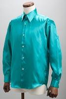 サテンシャツエメラルドグリーン