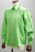 サテンシャツアップルグリーン
