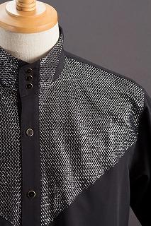 ラメスタンドカラーシャツ ブラック