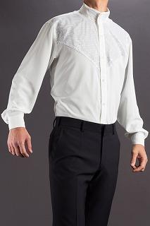 ラメスタンドカラーシャツ ホワイト
