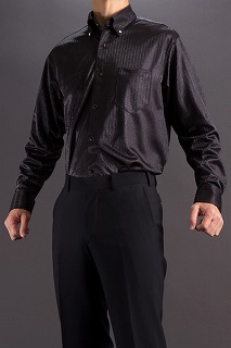 シャドーストライプ ボタンダウンシャツ ブラック