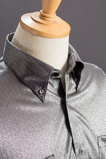 シャドーストライプ ボタンダウンシャツ グレー