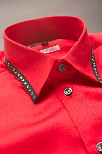 襟切り替えラインストーンシャツ
