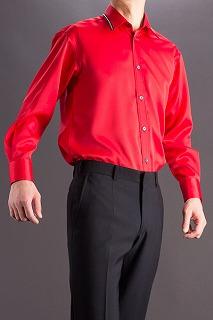 襟切り替えラインストーンシャツレッド