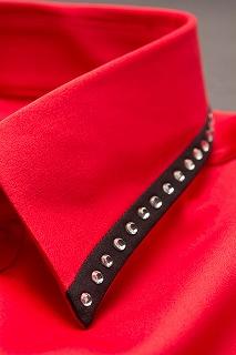 襟切り替えラインストーンシャツ赤