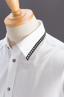 襟切り替えラインストーンシャツ #120 ホワイト