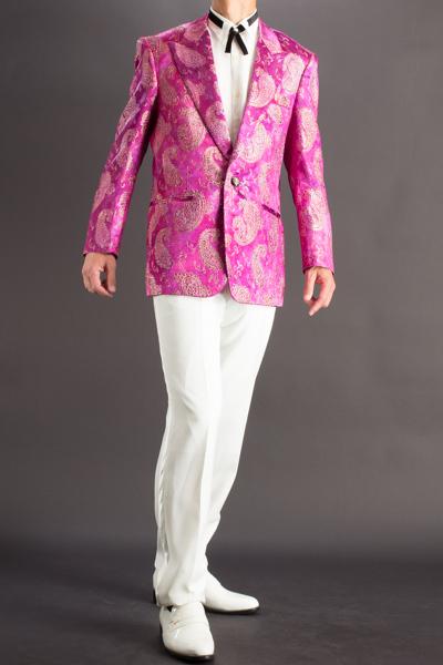 ペイズリー柄シングルジャケットピンク