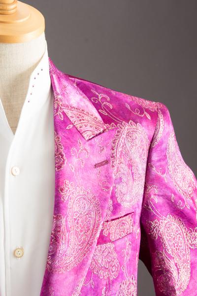 ピンクペイズリー柄シングルジャケット