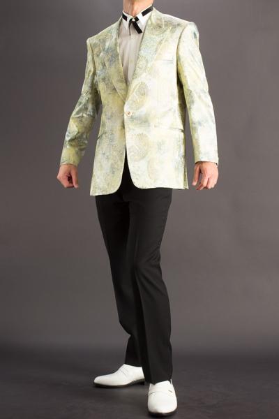 ペイズリー柄シングルジャケットグリーン