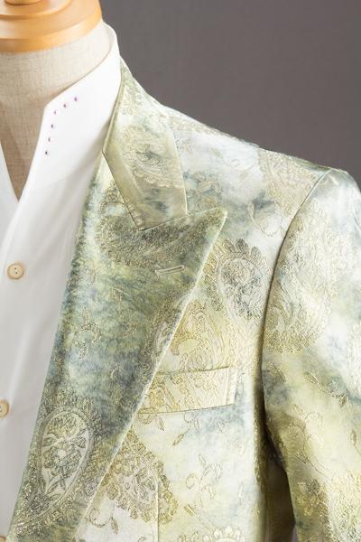 グリーンペイズリー柄シングルジャケット
