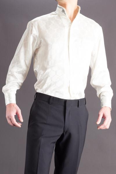 スタンドカラーシャツ オープンタイプカラーホワイトの画像