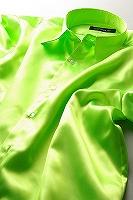 サテンシャツライムグリーン