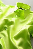 サテンシャツイエローグリーン