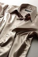 サテンシャツカーキ