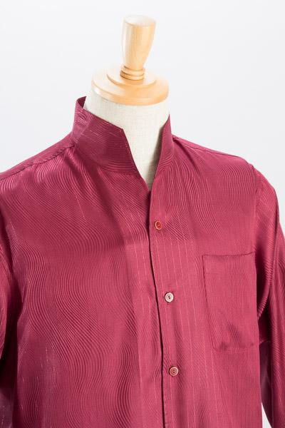 スタンドカラーシャツ ラメ入り 波型ストライプ  ワインレッド