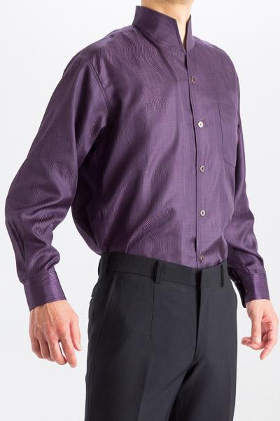 スタンドカラーシャツ ラメ入り 波型ストライプ  パープル