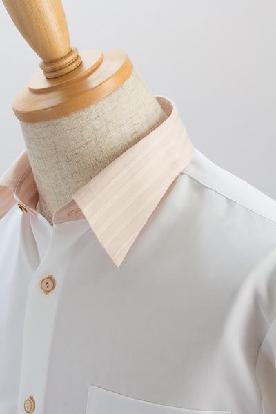 クレリックレギュラーカラーシャツ #4627 ホワイト・ピンク