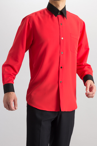クレリックレギュラーカラーシャツ #4627 レッド・ブラック
