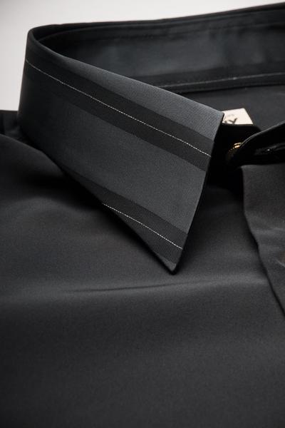 クレリックレギュラーカラーシャツ #4628 ブラック