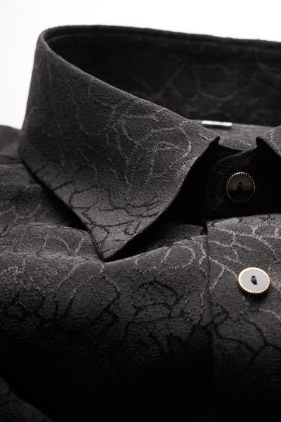 レギュラーカラーシャツ ジャガード #4631 ブラック