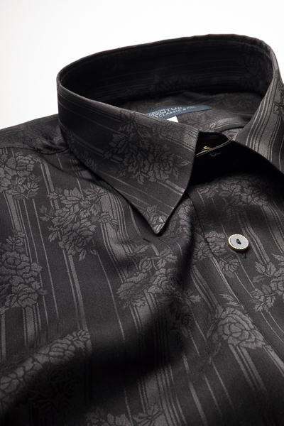 レギュラーカラーシャツ ジャガード #4632 ブラック