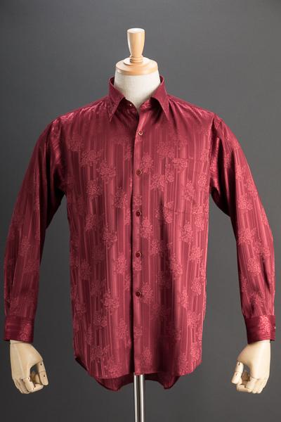 レギュラーカラーシャツ ジャガード #4632 ワインレッド
