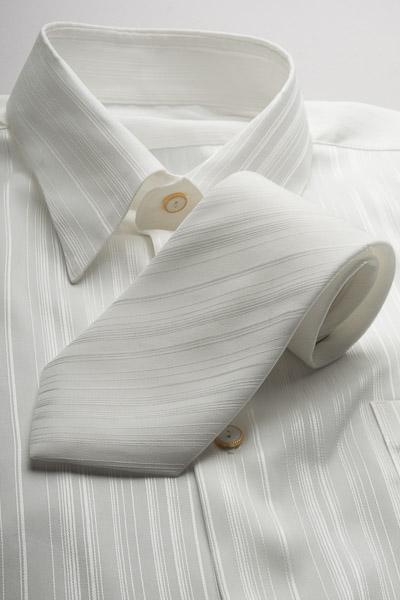 ジャガード レギュラーカラーシャツ タイ付 #4m482 ホワイト