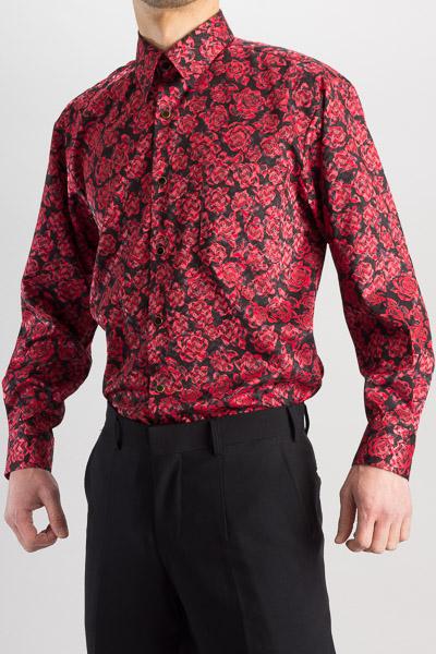 バラ柄シャツ #4m623 レッド