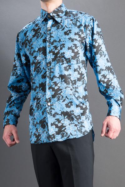 バラ柄シャツ #4635 ブルー