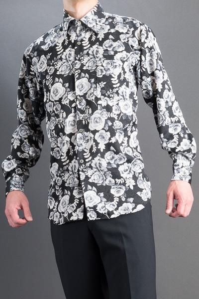 バラ柄シャツ #4636 ホワイト・ブラック