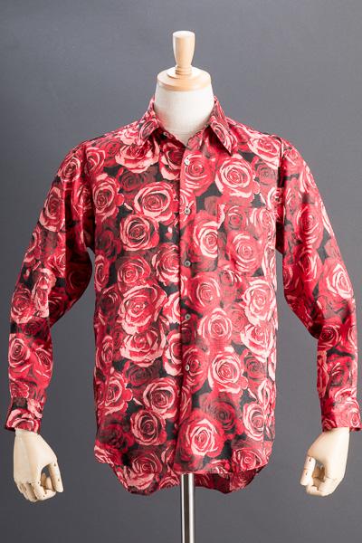 バラ柄シャツ #4638 レッド