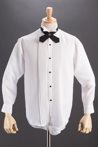 ウイングカラーシャツ【ダンス仕様レオタードタイプ】ホワイト 【クロスタイセット】