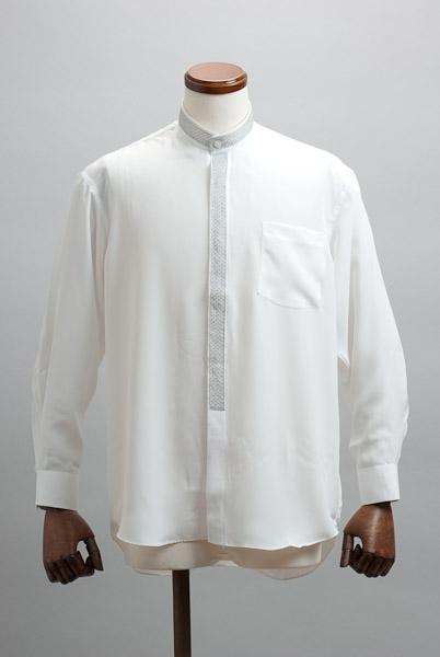 ラメトリミング スタンドカラーシャツ ホワイト #n2051