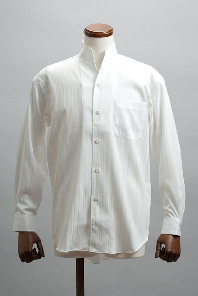 オープンスタンドカラーシャツジャガード ホワイト #n4533