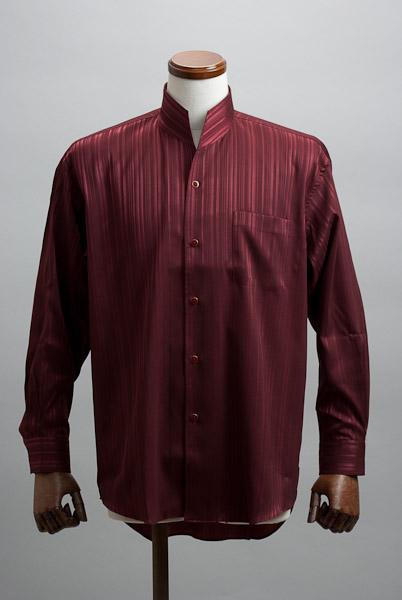 オープンスタンドカラーシャツジャガード ワインレッド #n4533