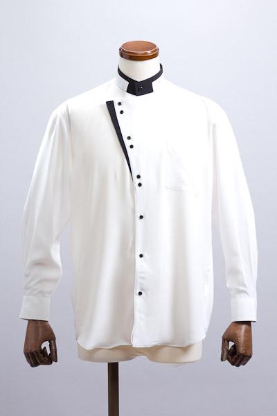 KCタイプ スタンドカラーシャツ ホワイト・ブラック