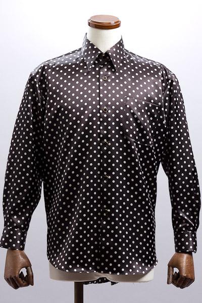 ドット柄サテンレギュラーカラーシャツ ブラック・ホワイト #4589