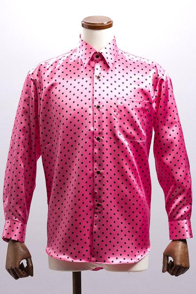 ドット柄サテンレギュラーカラーシャツ ピンク・ブラック #4589