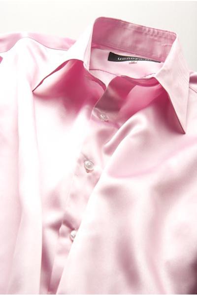 サテンシャツローズピンク #07