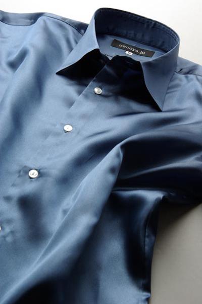 サテンシャツインディゴブルー #19