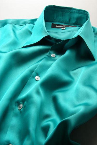 サテンシャツエメラルドグリーン #20