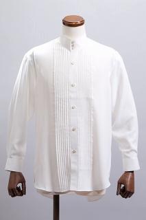 スタンドカラー ハイカラーシャツホワイト