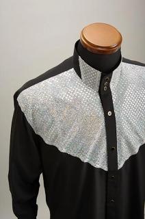 スパンコール 3ボタン スタンドカラーシャツ