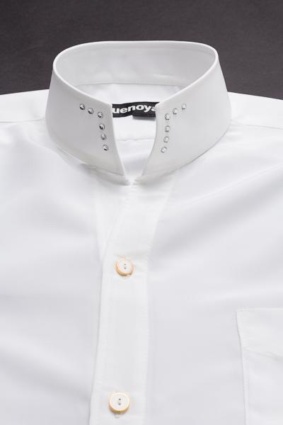 スタンドカラーシャツ オープンタイプスワロフスキー #005 ホワイト