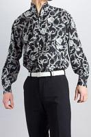 スタンドカラーシャツオープンタイプ バラ柄