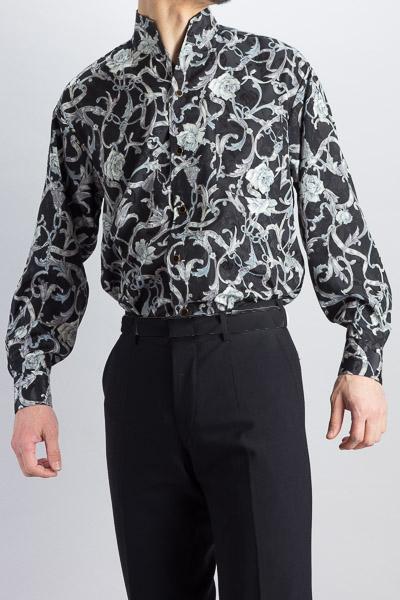 スタンドカラーシャツオープンタイプ バラ柄 #4m625 ブラック