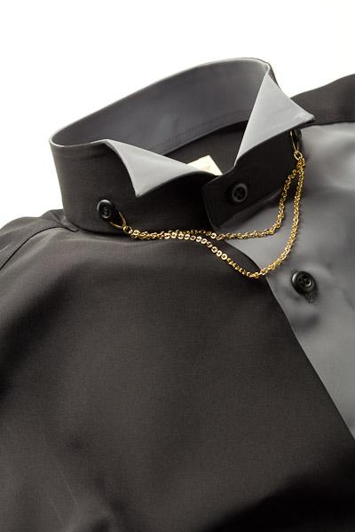 切り替えウイングカラーシャツ グレー